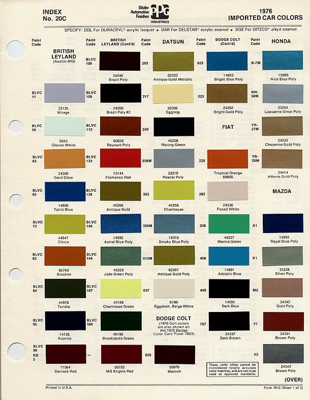 bmc british leyland paint code chips 1976
